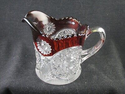 RUBY STAINED NAVAJO PATTERN CREAMER C1900 EAPG MAKER UNKNOWN