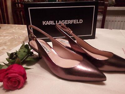 Karl Lagerfeld Paris Schuhe Slingbacks Leder Bronze metallic Gr.35 neu elegant - Paris Slingback