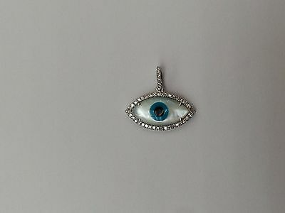 Dainty Thin Mirco-Pave Diamond Marquise Shape Evil-Eye Pendant 14k White Gold