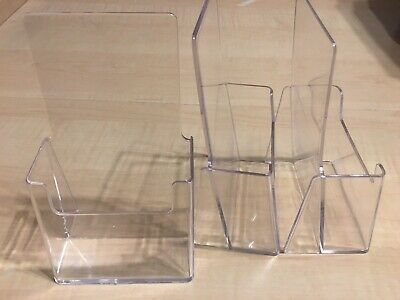 Lot Of 3 Azar 252012 Clear Acrylic Trifold Brochure Holder For Counter Display