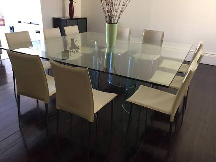 Large Square Glass Dining Table With 10 Chairs