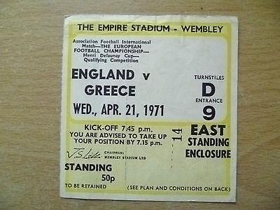 Tickets- 1971 Henri Delaunay Cup Qualifying ENGLAND v GREECE, 21 April