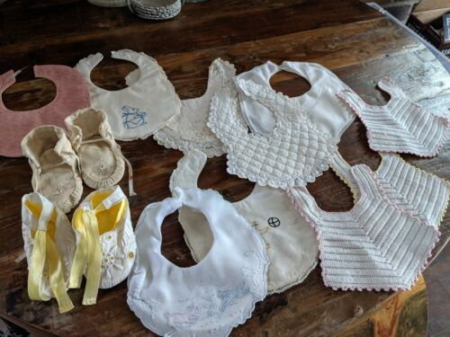Vintage BABY BIBS LOT OF 10 Crochet, Embroidered, Quilted, 2 BOOTIES INCL