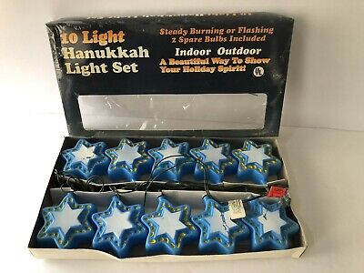 Hanukkah Star of David String Lights Electric Blow Mold Chanukkah Vintage Decor - Hanukkah String Lights
