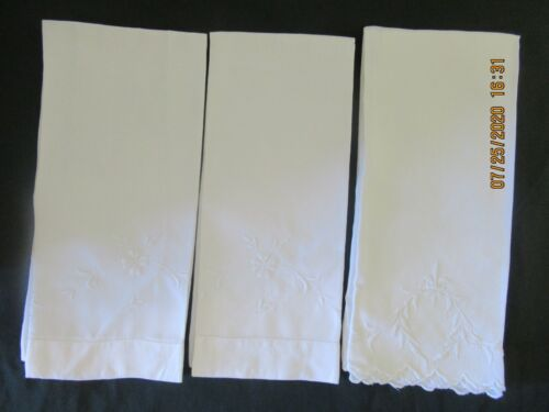 3 White LINEN ladderwork PILLOWCASES with White Embroidery