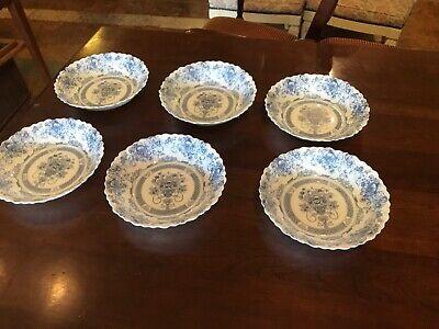 Arcopal France Blue Honorine Scalloped Edge Cereal Salad Soup Bowls Set Of 6