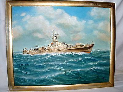 Maritimes Ölgemälde Minensuchboot  M 1092 Öl auf Leinwand Monogrammiert H K 96
