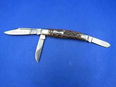 FIGHT'N ROOSTER - FRANK BUSTER - LONG PULL STOCKMAN STAINLESS - BONE HANDLES - C