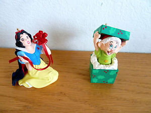 Disney-2-Keepsake-Ornaments-Snow-White-Dopey-Dwarf-Hallmark-NIB
