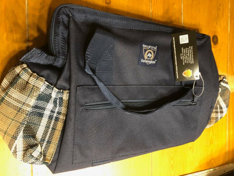 NEW Kensington Zippered Grooming Show Tote English Navy, Blue Plaid