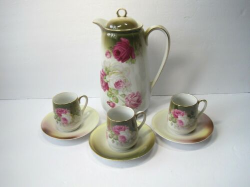 Antique Vintage Germany Set Of Tea Coffee Chocolate Pot And 3 Cups With Saucers