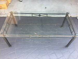 BLACK WROUGHT IRON AND GLASS COFFEE TABLE Grays Point Sutherland Area Preview
