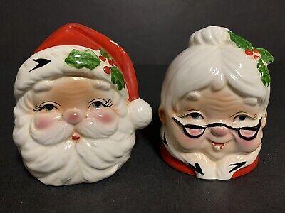 Vintage Santa & Mrs. Claus Head Salt & Pepper Shakers ~ Ceramic Mr & Mrs Claus  Mrs Claus Salt