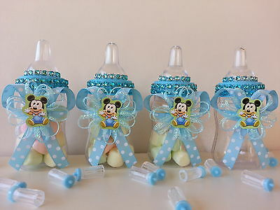 12 Baby Mickey Mouse Fillable Bottles Baby Shower Favors Prizes ~Boy Decorations](Baby Mickey Mouse Baby Shower Decorations)