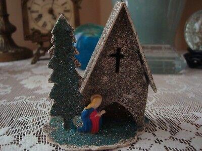 Vintage Putz Church Green Roof Christmas Ornament JAPAN Mica Glitter Cardboard