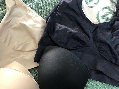 2 Pack Rhonda Shear Ahh Seamless Leisure Bras with Pads,Black,Nude/Tan, (2 Pack Seamless Leisure Bra)