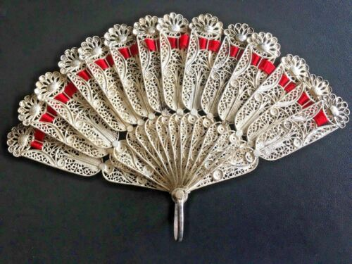 19TH CENTURY CHINA CHINESE SOLID SILVER FILIGREE FAN 古董银丝扇