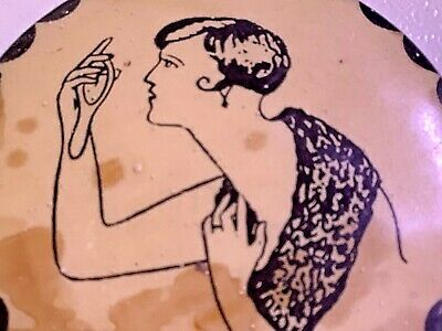 1920s Handbags, Purses, and Shopping Bag Styles 1920s ART DECO LADY  PURSE  POCKET MIRROR Roaring 20s ANTIQUE Great Graphics Old $10.99 AT vintagedancer.com