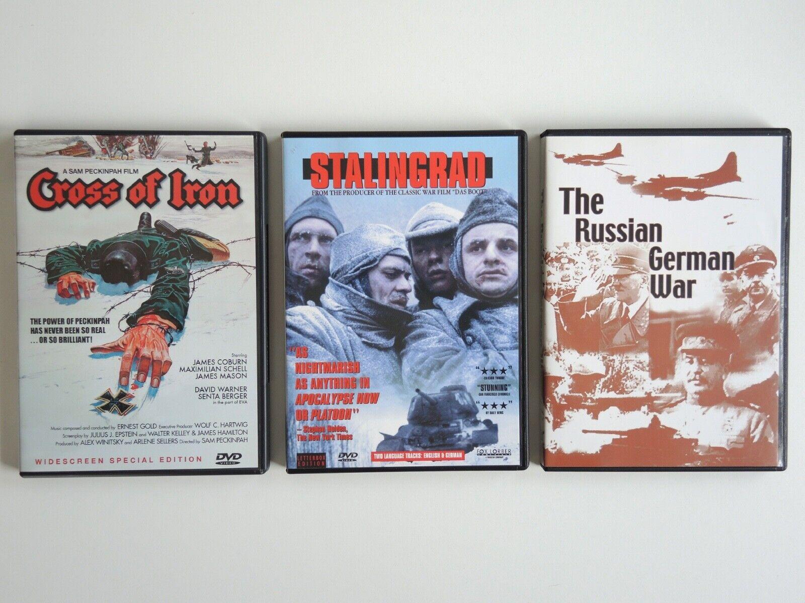3 DVDs Cross Of Iron Peckinpah, Coburn , Stalingrad, Russian German War WW 2 - $9.99