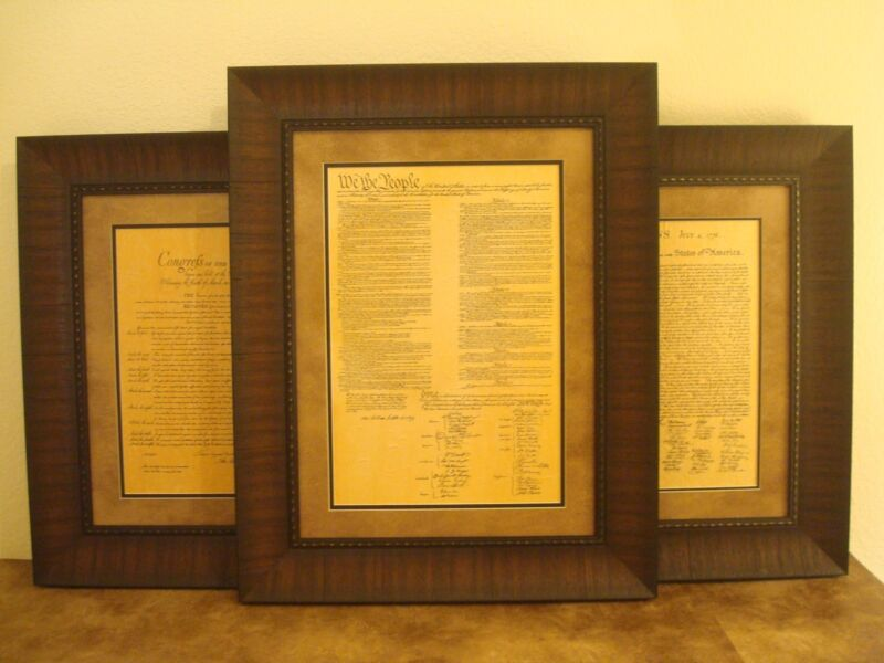 FRAMED THE BILL OF RIGHTS, DECLARATION OF INDEPENDENCE & CONSTITUTION OF U.S.
