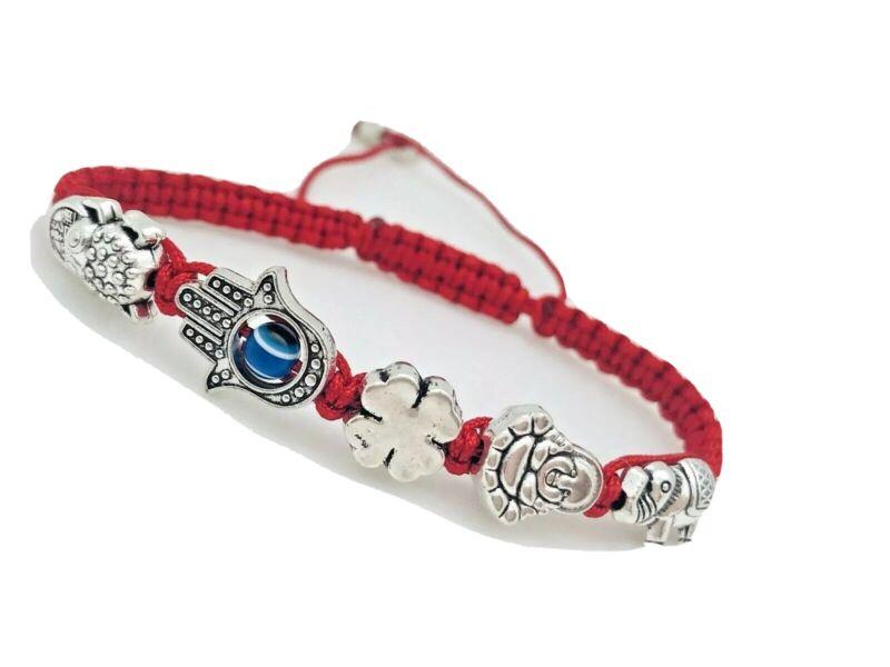 3 Pulseras Rojas Hechas a Mano Para Proteccion De la malas Vibras (5 Amuletos)