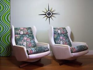 RETRO PAIR 1970s ERA WINGED BACK SWIVEL LOUNGE ARMCHAIRS Tempe Marrickville Area Preview