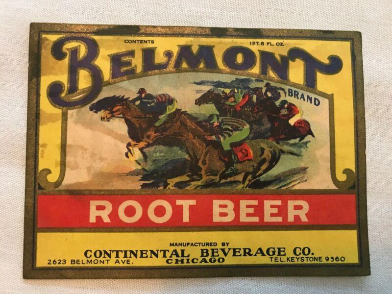 BELMONT Root Beer Vintage Label, Continental Beverage, Chicago, Illinois