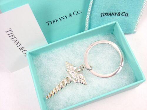 Vintage Tiffany & Co Sterling Silver Caduceus Medical Doctor Key Ring Keychain