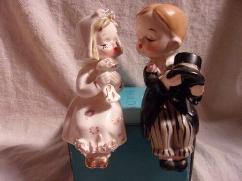 Vintage BRIDE and GROOM SHELF SITTER SALT & PEPPER SHAKERS