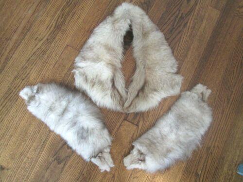 Fur Collar Cuffs Vtg 40s Genuine Soft Marbled Brown Beige Winter Accessories Set
