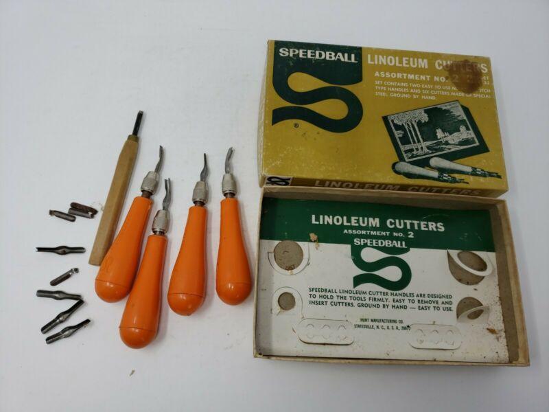 Vintage Speedball Linoleum Cutters Lot in Box: 4 Cutters with Orange Handles+