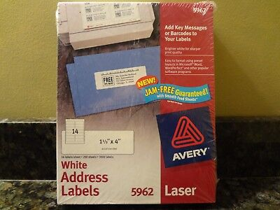 New Avery 5962 White Address Labels 1 13 X 4 250 Sheets 3500 Labels