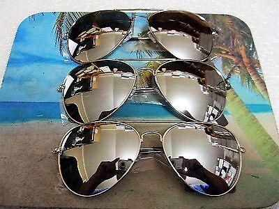 3 PAIR  LARGE AVIATOR SUNGLASSES SILVER MIRROR LENS TOP COP AV (Aviator Sunglasses With Mirror Lens)