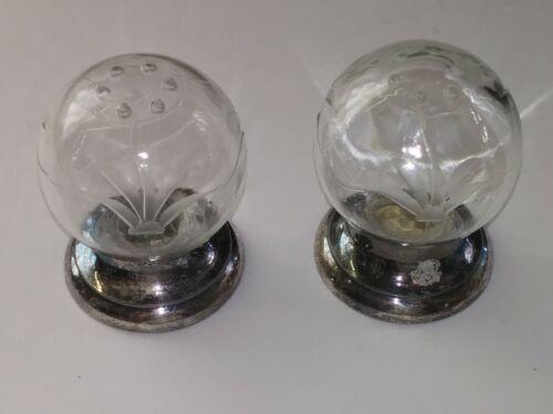 Antique Vogue by Poole Salt & Pepper Shaker Etched Glass Globe Tarnished J105