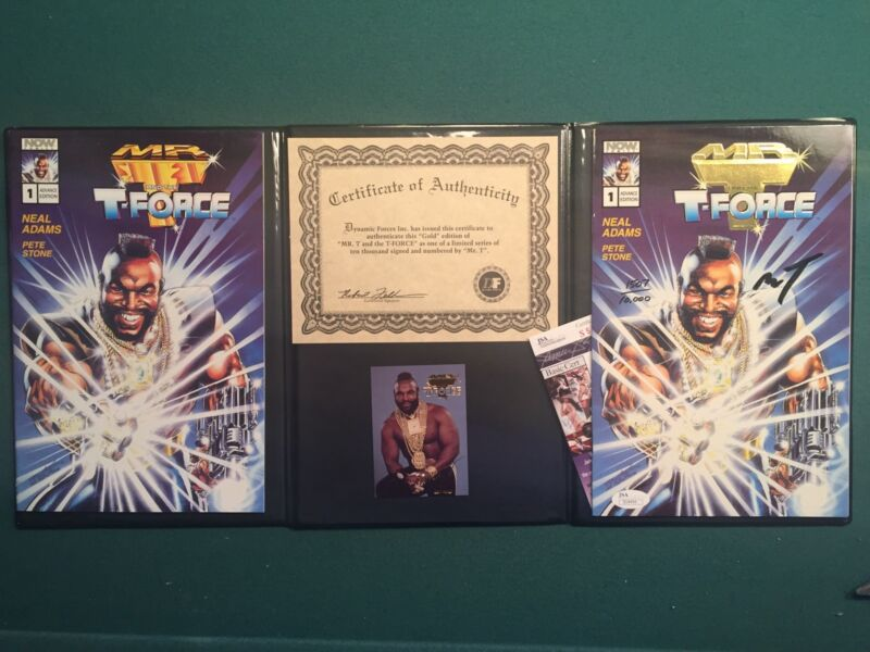 MR. T. HAND SIGNED AUTOGRAPH T-FORCE NOW COMIC BOOK GOLD LIMITED EDITION JSA COA