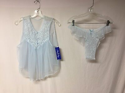USA Made Nancy King Lingerie Baby Doll Top & Panty Pajama Size Large Blue #461L (Lingerie Baby)