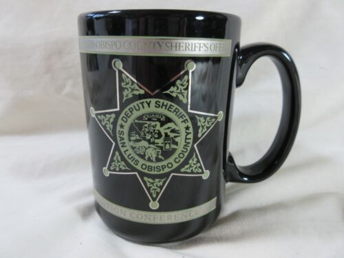 SAN LUIS OBISPO Sheriff Dept Mug Cup Jumbo Black Silver Officer Badge 4.5""