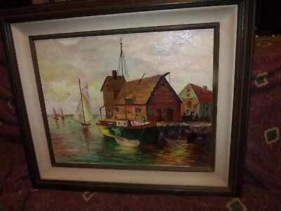 Vintage 1965 Lee Mitchell oil painting Gulf Coast seascape sailboats w/letter