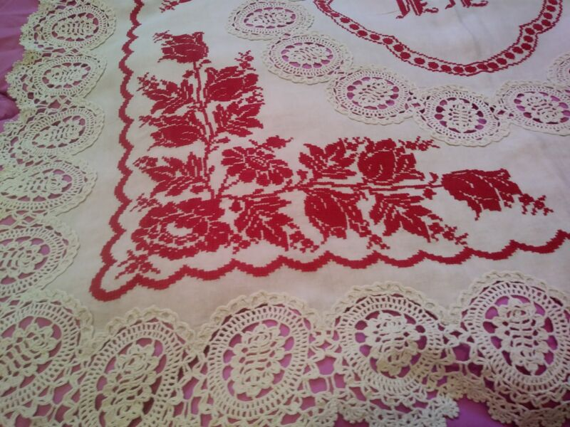 """Antique Turkey Red Fine Cross Stitch  Embroided Linen Tablecloth 34"""" x 33"""" Lace"""