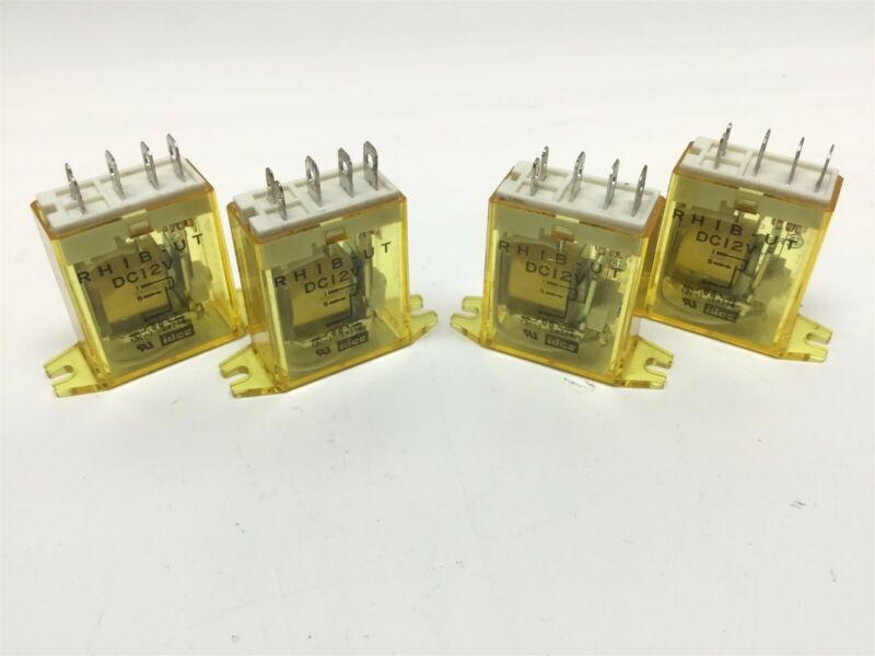 Lot of 4 IDEC RH1B-UT DC12V Ice Cube Relays 12VDC Coil 240VAC 10A Contacts SPDT