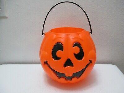 Vintage Halloween Grand Venture Blow Mold Trick Treat Pail Bucket Pumpkin JOL