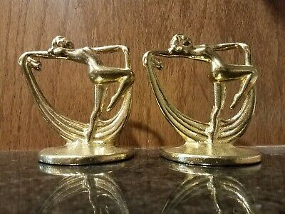"""Frankart nymph with frog bookends art deco in black 10/"""" tall metal a pair USA"""