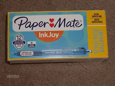Paper Mate Ink Joy Stylo-bille Ballpoint Pens New 12 Count Box 12 Blue Pens