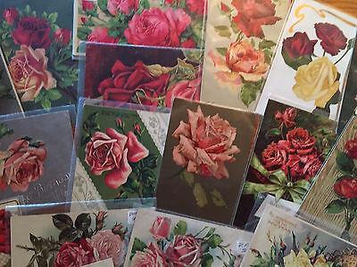 Lot of 30 Beautiful * ROSES* rose Flowers Vintage Greetings Postcards-a1-Nice!