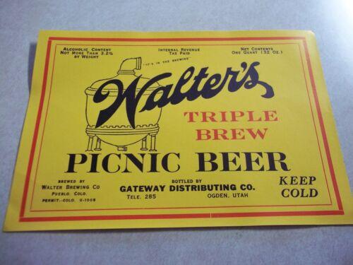 Vintage IRTP WALTERS PICNIC BEER 1/2 Gallon LABEL Pueblo Colorado Co. Bar Tavern