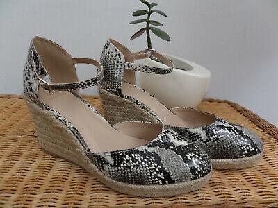 M&S Black Grey Snakeskin Hessian Wedge Espadrilles Ankle Strap Sandals Shoes 7.5