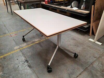 Kusch Co mobile fliptop Table Office Desk Foldable White 140cm