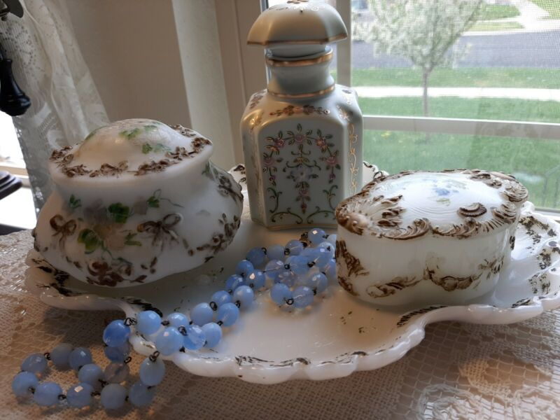 Antique Victorian1890 Milk Glass Vanity Set! RARE,CHARMING, GORGEOUSLY OLD!!!!!