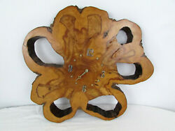 "Vintage Burl Wood Slab Wall Clock Large 22""x20"" Very Unique Holes Sherstad Woods"