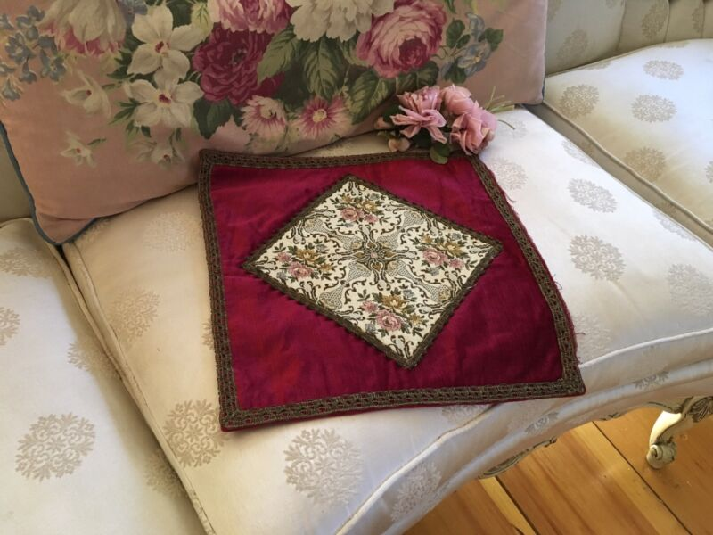 Antique French Velvet Pillow Case Cover Metalwork Floral Tapestry #3